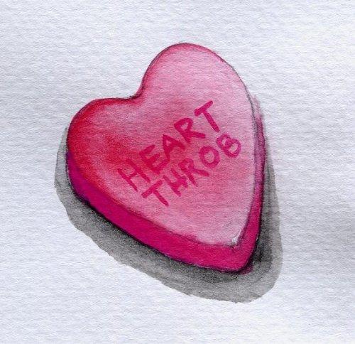 """Heart Throb"" Conversation Heart illustration by Heather Hingst Bennett"